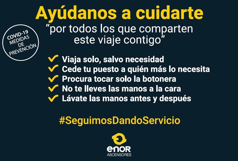 ASCENSORES ENOR, COMPROMETIDA CON EL SERVICIO Y CON EL CUIDADO DE LAS PERSONAS, TAMBIEN EN LA PANDEMIA DEL COVID19